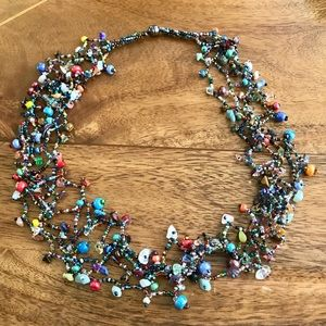 Multicolored Bead 2 in 1 Necklace and Bracelet